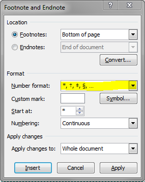 Fig 7: The endote format option changed to symbols.
