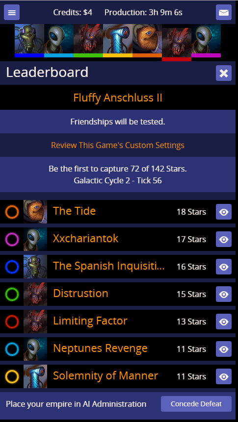 The leaderboard just before Galactic Cycle 3