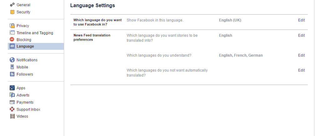 """3) Click the """"Edit"""" link next to """"Which language do you want to use Facebook in?""""."""