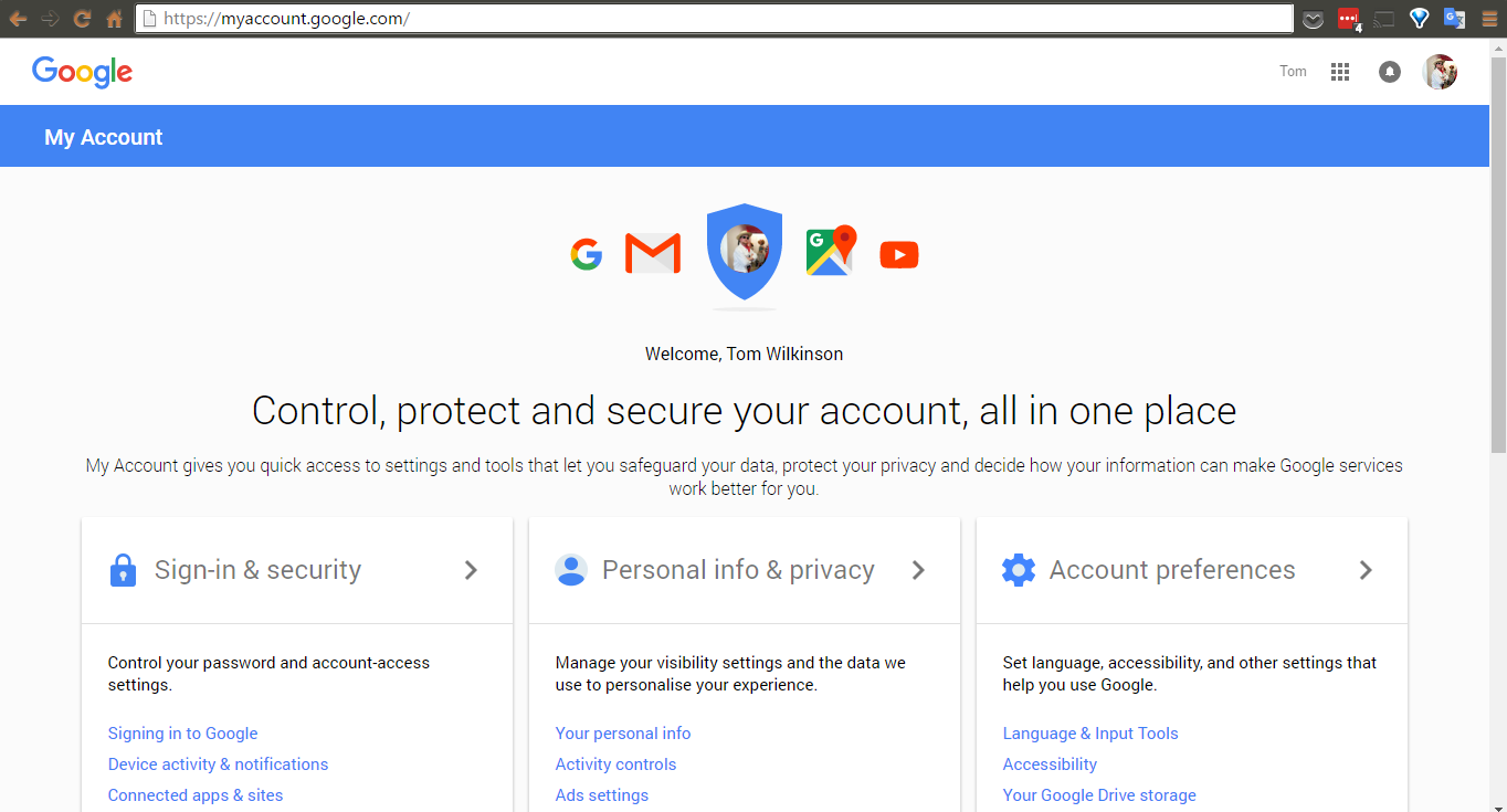 1) Go to your Google account.