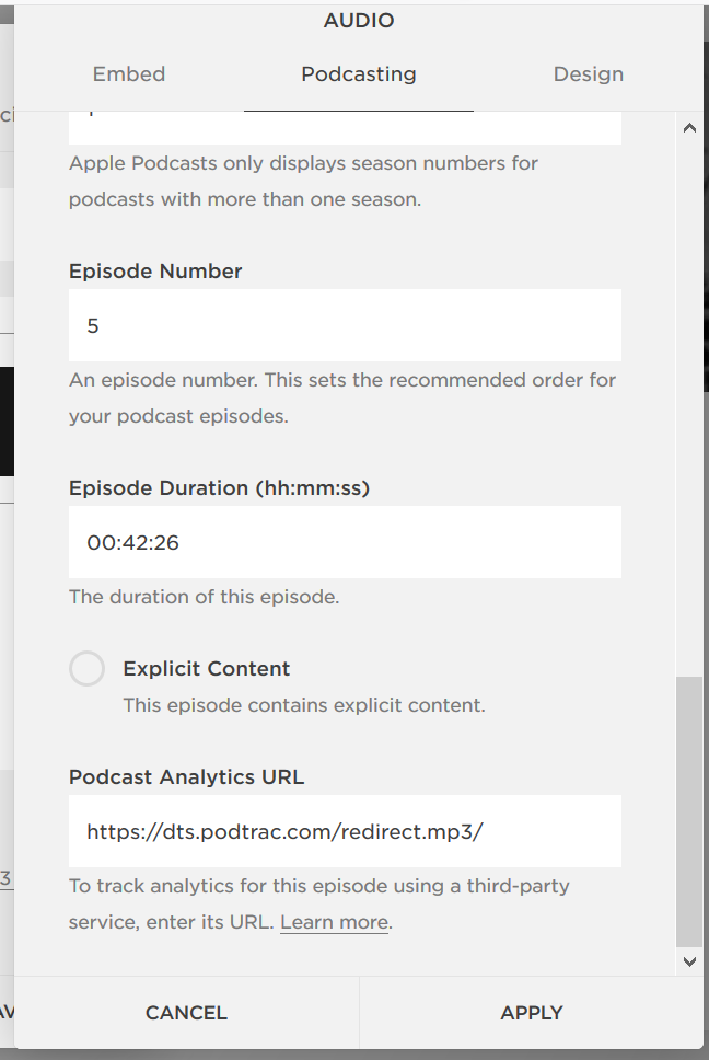The Podcasting tab with analytics URL.