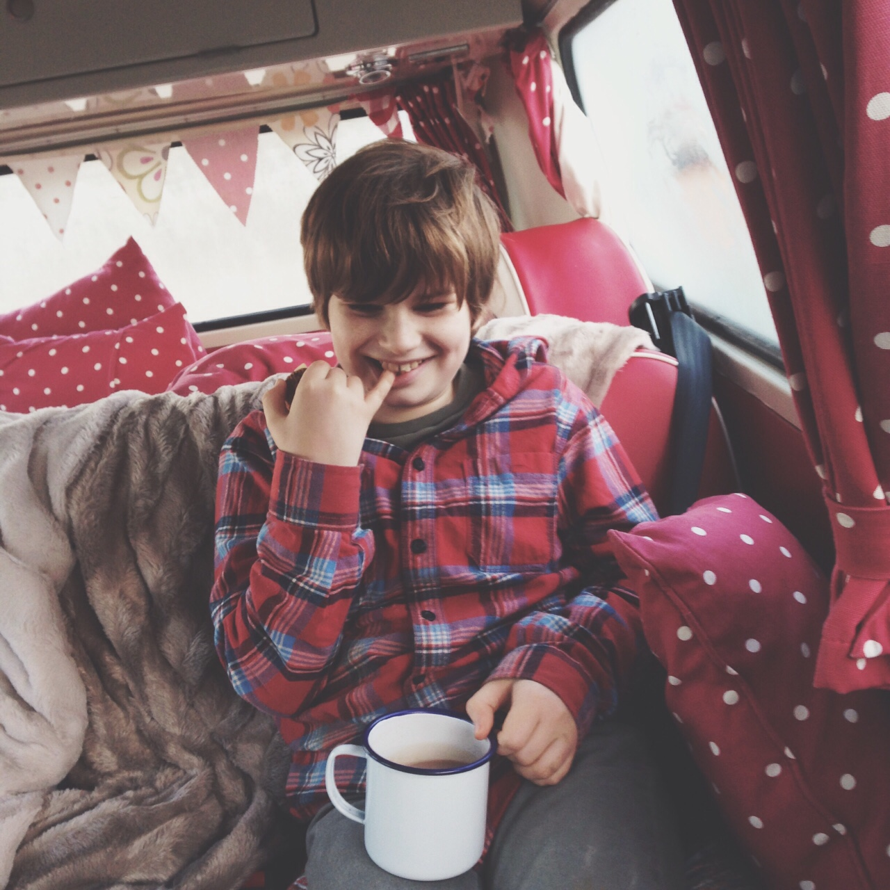 A sunny winter's day calls for campervan hot chocolate and plenty of faux fur blankets to cosy up to