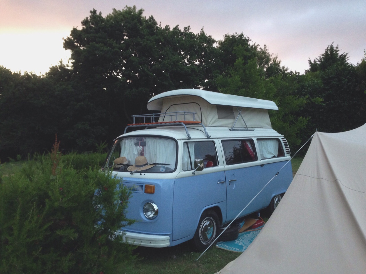 Our Brittany set-up at dusk on a particularly picturesque evening