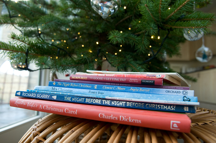 Our Christmas books - a mix of dog-eared classics and new reads, but all well-loved