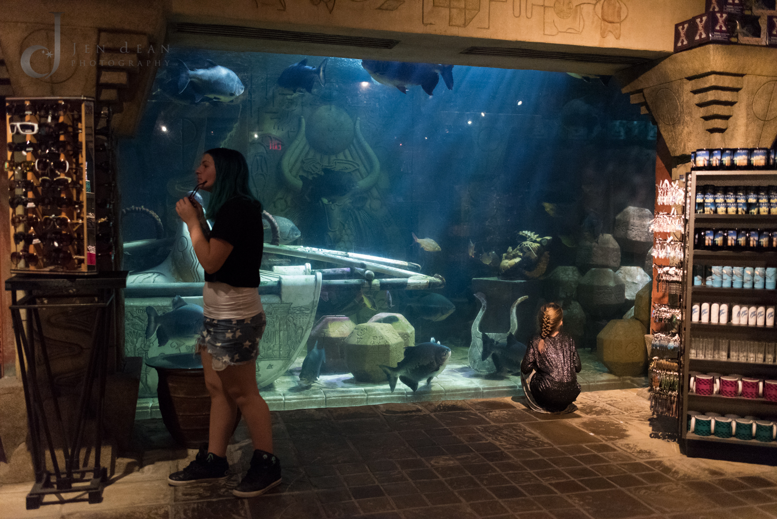 Totally surreal to shop in an aquarium!