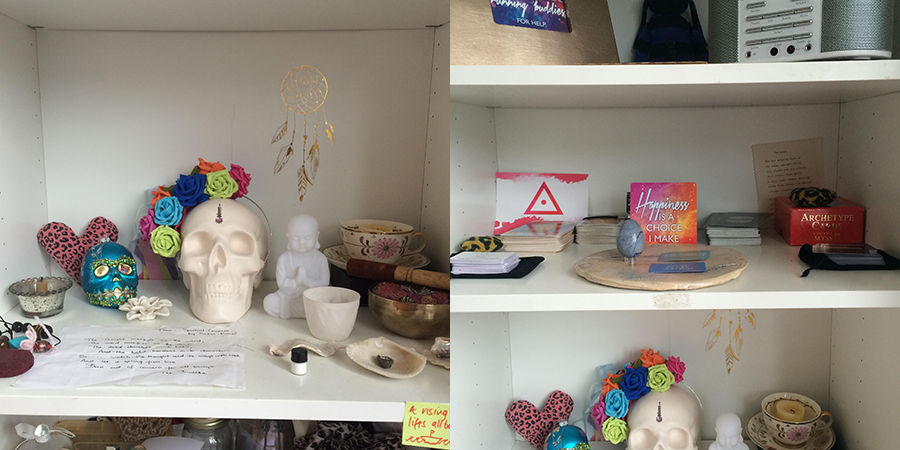 Ebonie's  bookshelf altar has a definite punk rock vibe.