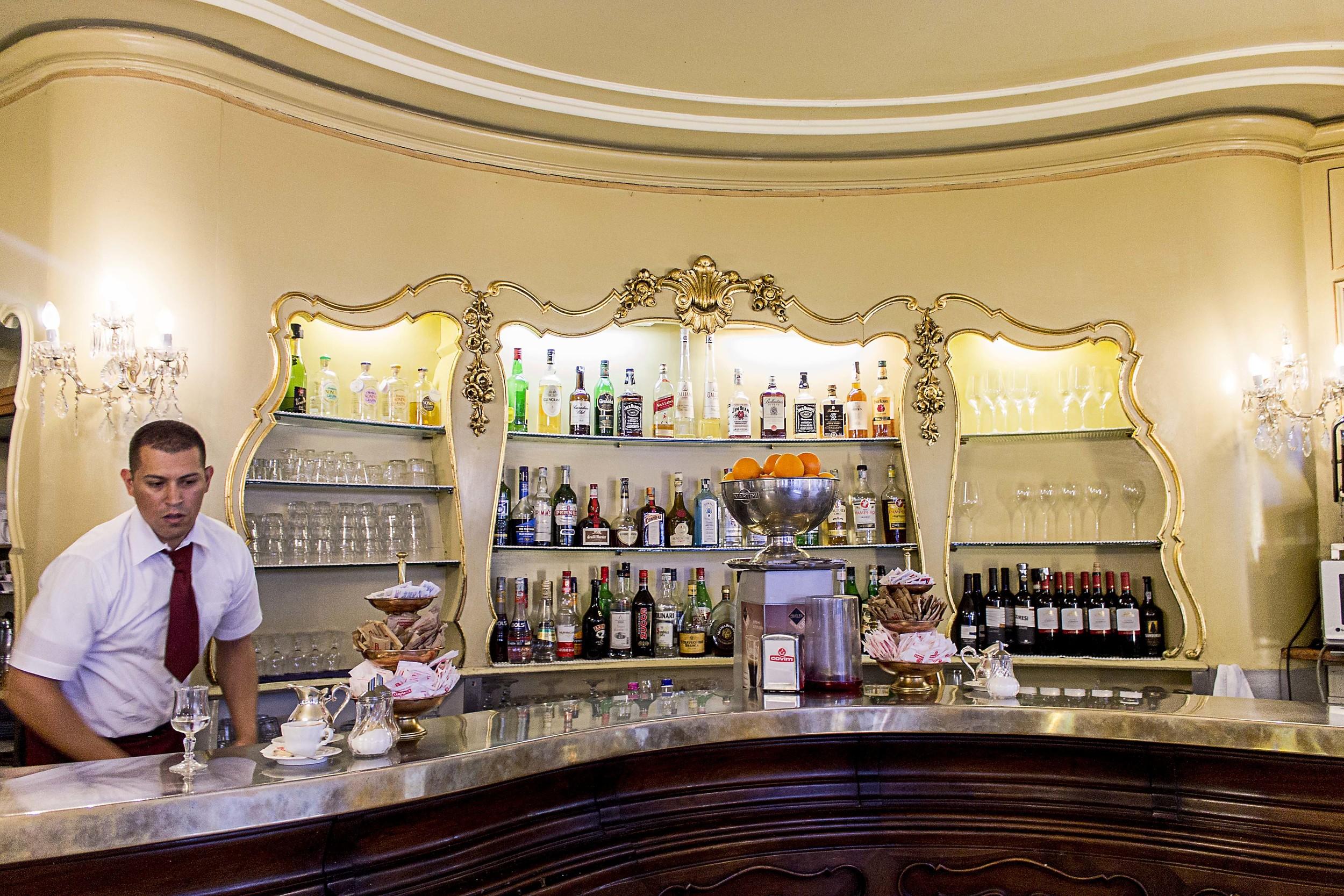 The beautiful and quite stunning interior of the bar of Klainguti's.