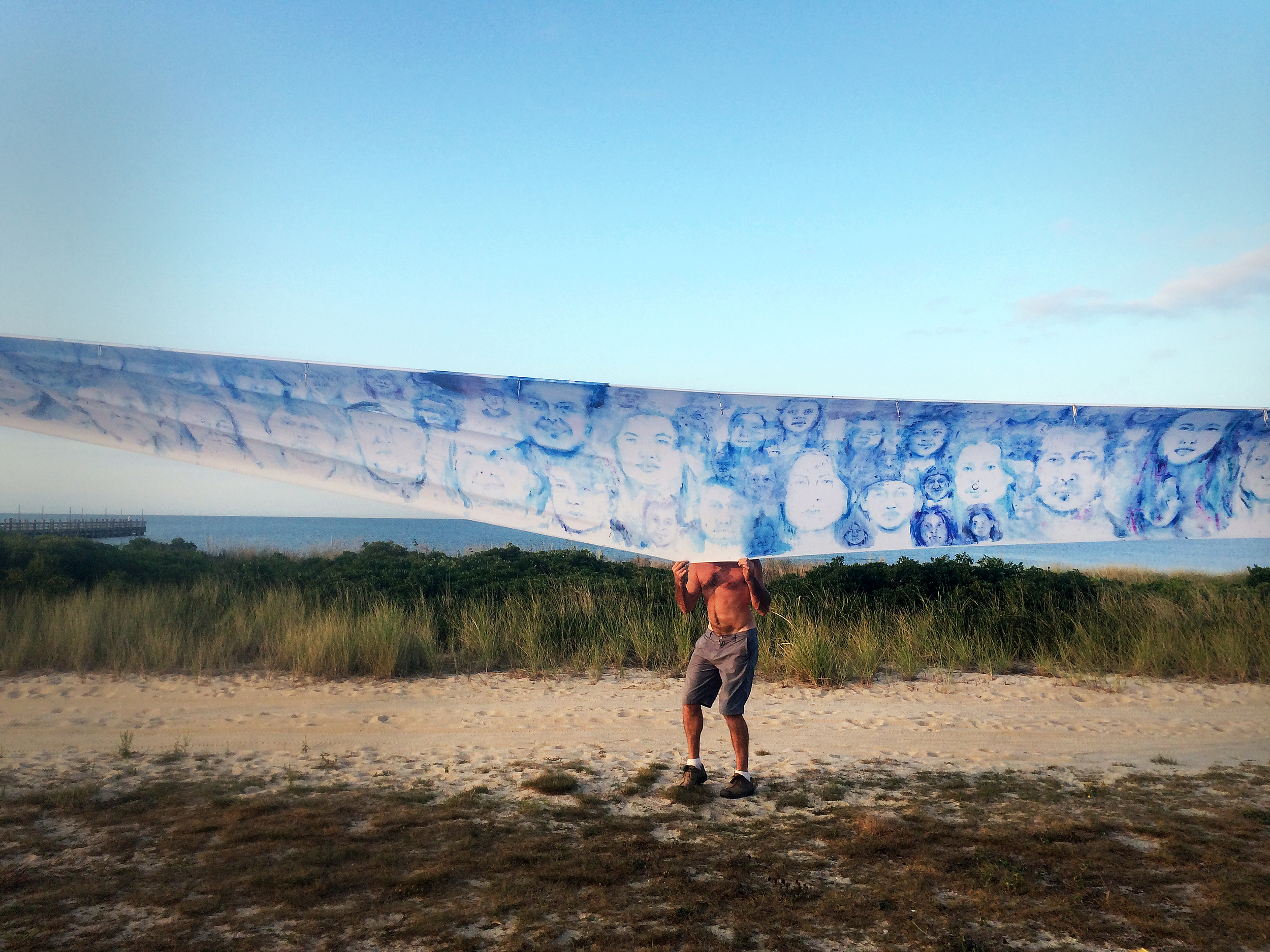 'Leviathan: The Montauk Portrait Project, Phase III: Monoprint Scroll' (2014) Image courtesy of artist.