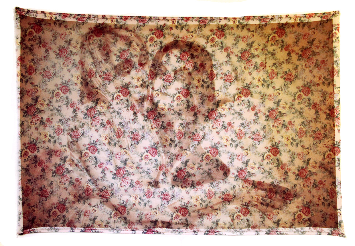 "'Kess & Laura'(2013) Digital laser print on a secondhand bed sheet, 68"" x 44"""