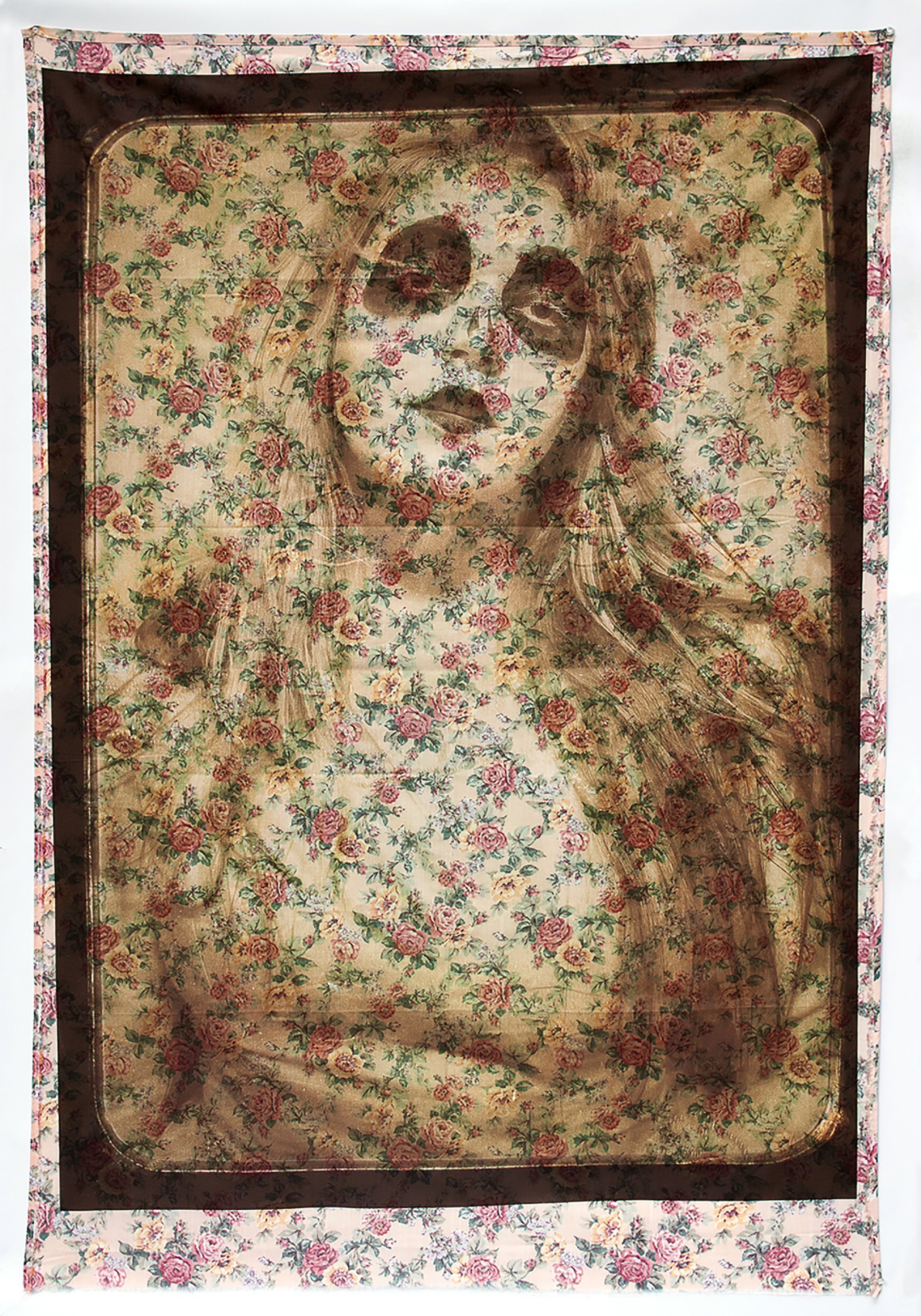 "'Kess'(2013) Digital laser print on a secondhand bed sheet, 68"" x 44"""