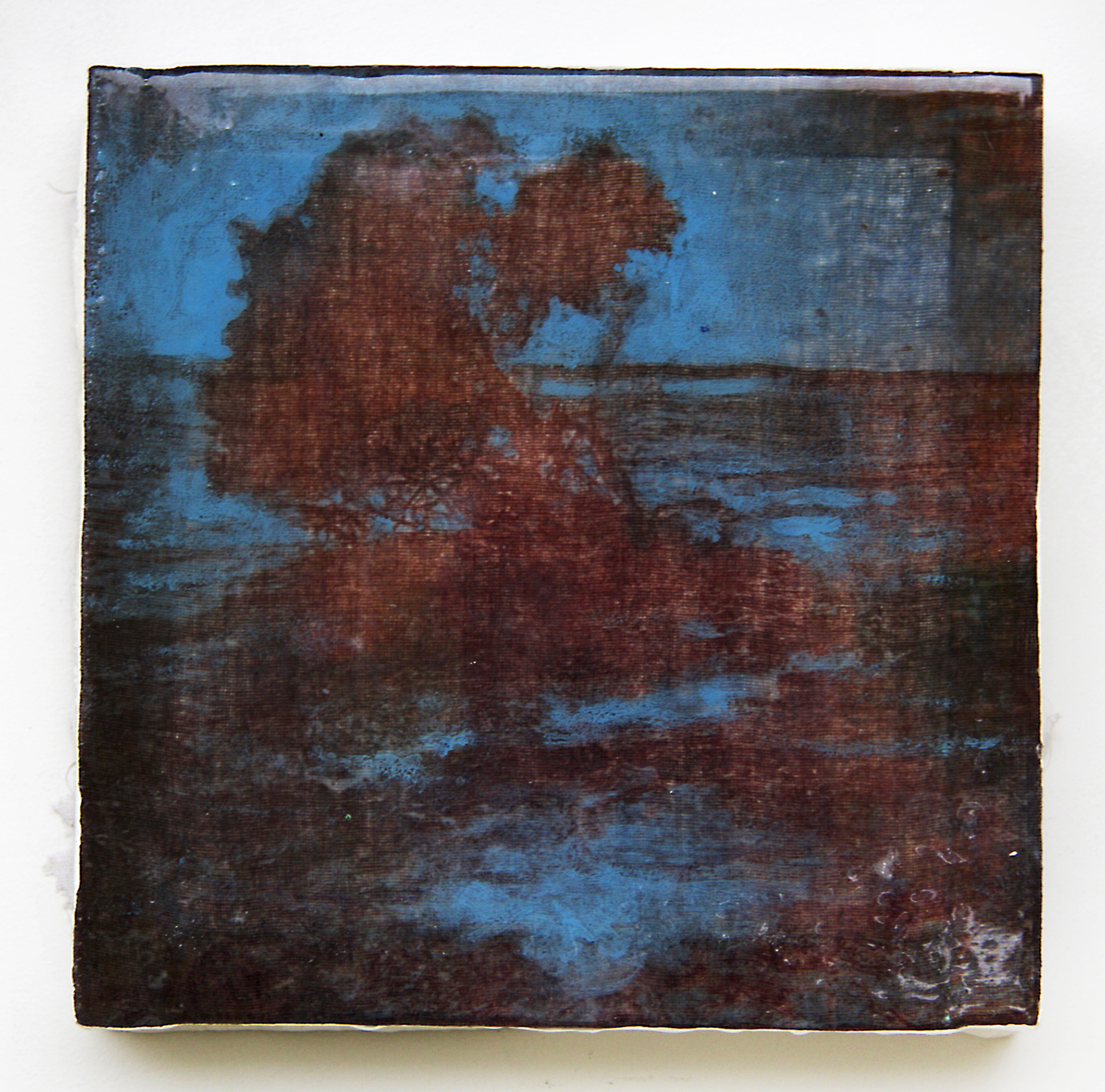 "'Blue Tree, Indonesia' (2016) Inkodye on stretched cloth, resin, and wax, 10"" x 10"""