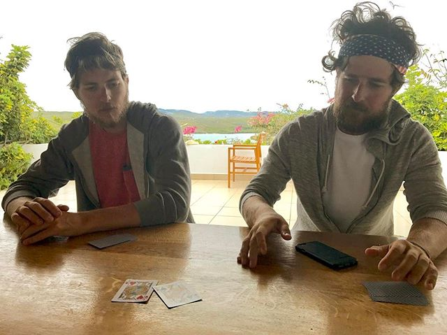 TBT to the day after landing: Still fierce euchre rivals even after 79 days of quality time on the Atlantic Ocean ♣️ ❤️ #cardgames #euchre #brotherlylove