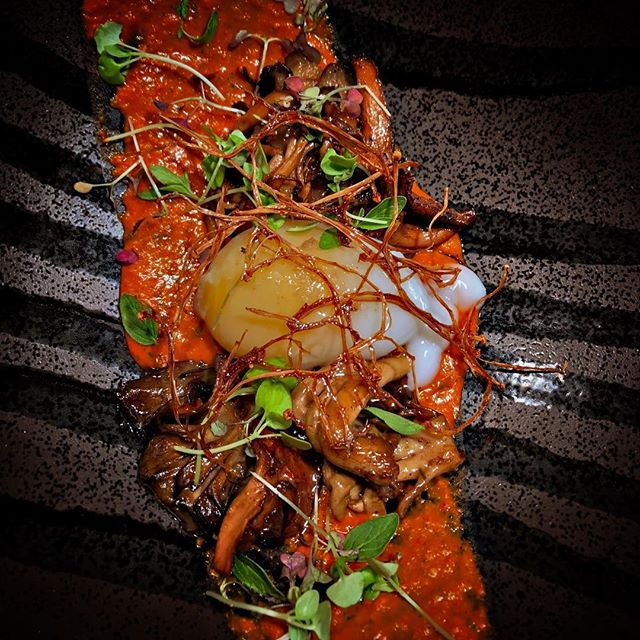 Poached Duck Egg. Romesco. All of the mushrooms. Yes. ⠀ .⠀ .⠀ .⠀ .⠀ .⠀ .⠀ .⠀ .⠀ #nycrestaurants #nycdining #nycfoodie #eeeeeats #foodie #feedfeed #f52grams #cheflife #foodporn #chefsofinstagram #truecooks #forkyeah #foodofig #foodiesofinstagram #nycfood #nyceats #foodandwine #eggs #yolkporn #duckegg #romesco #mushrooms #allofthemushrooms #summermenu #kingsleynyc