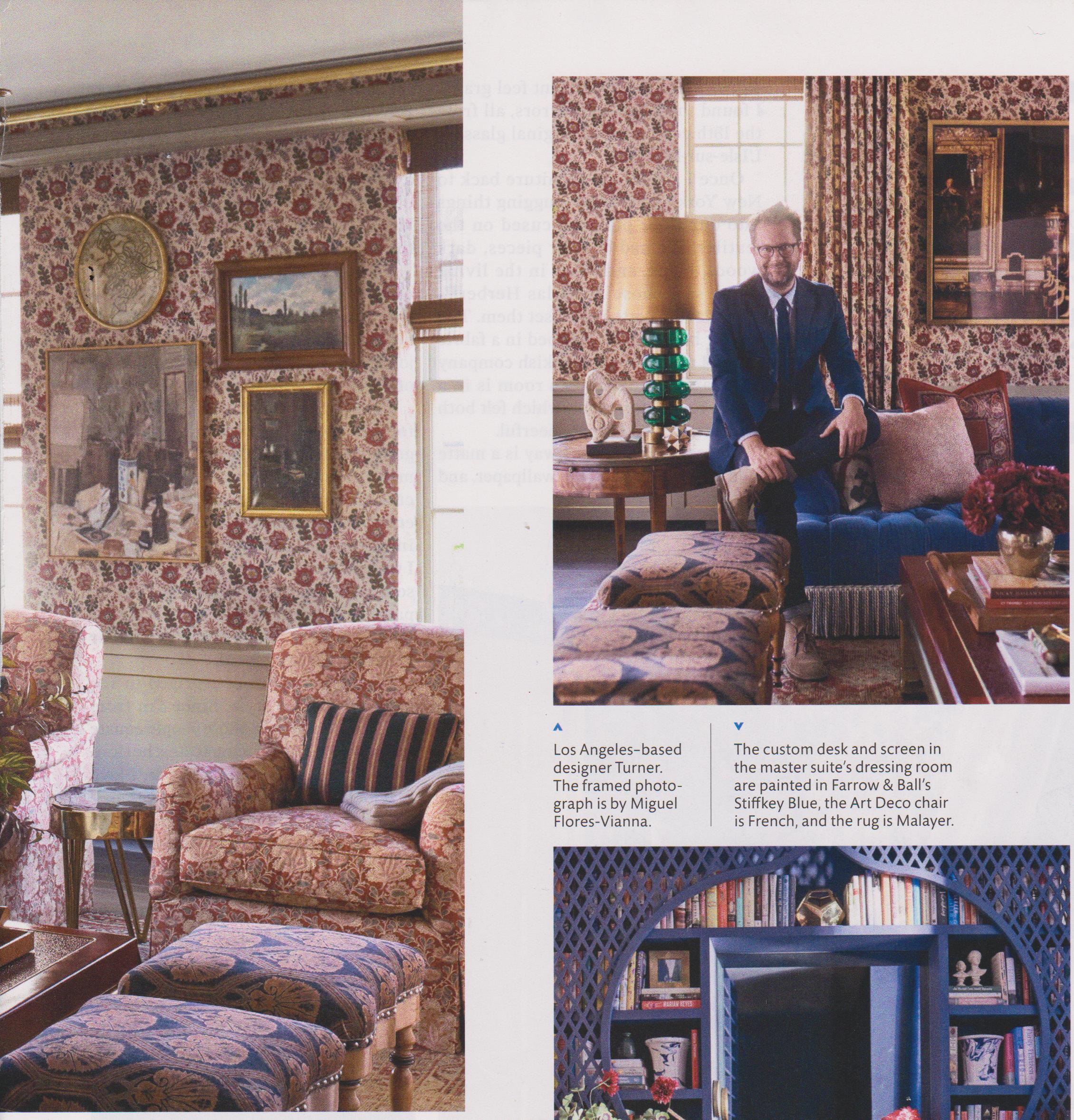 Nathan Turner in Elle Decor US featuring Coromandel and Chalvington – Red.