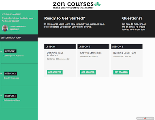 What the final course  could  look like after customizing the design.