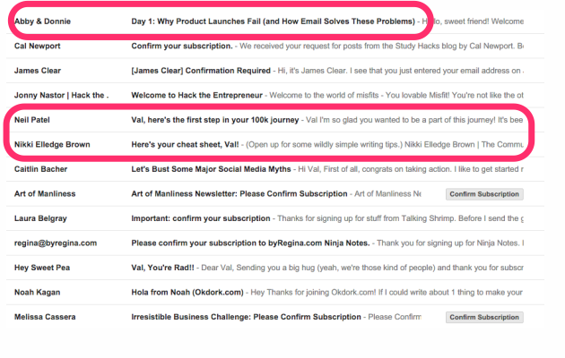 Which subject lines stand out to you? I've circled the ones that jump out to me.