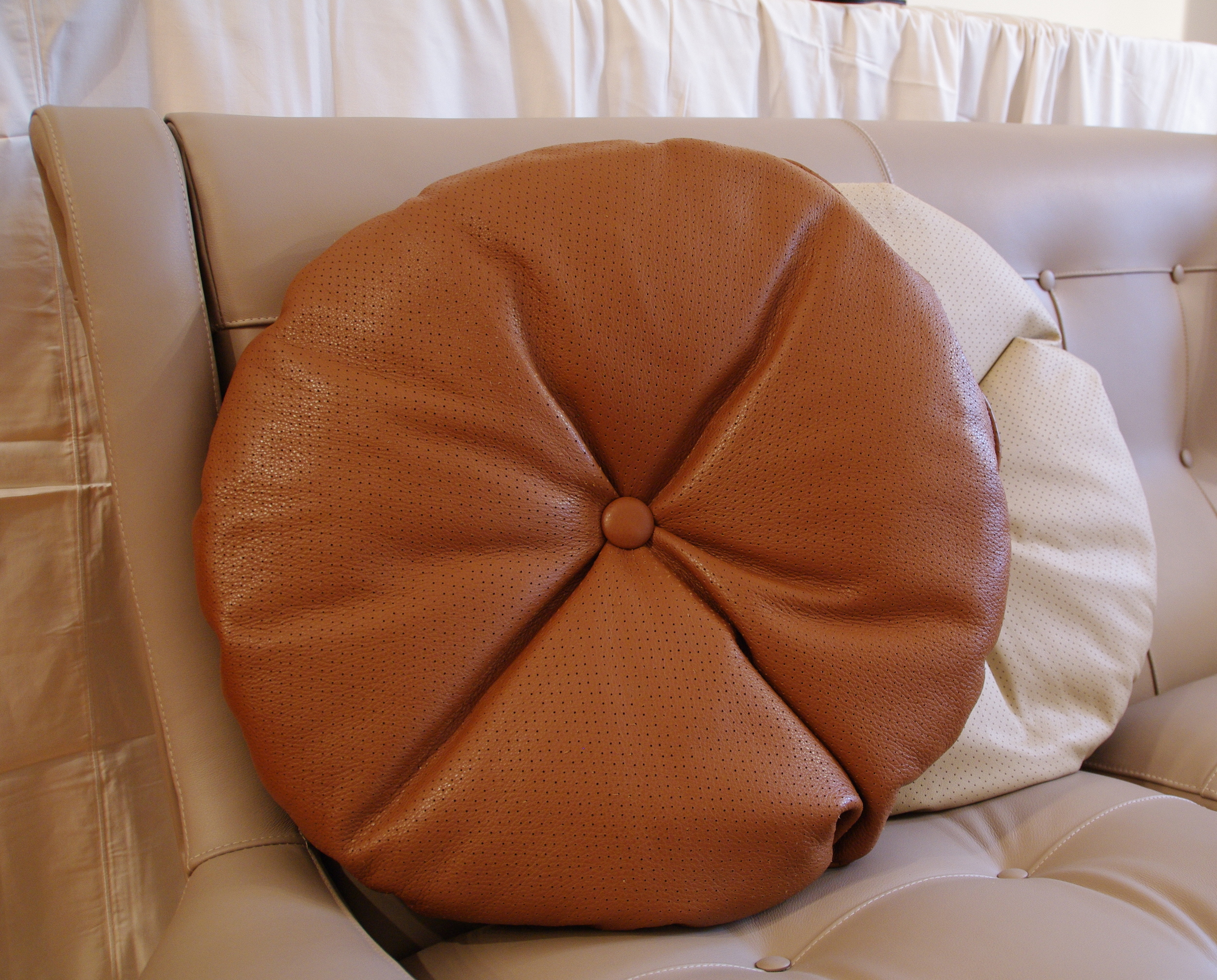 Perforated Leather Large Round Pillow With Button Arflex Italy Mid Century Modern Italian Design Mid Century Italian Furniture