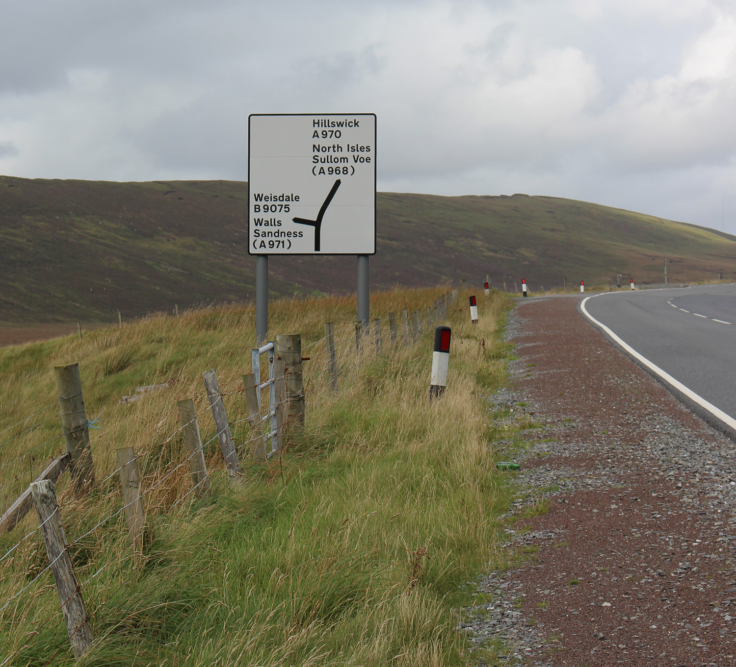 Halfway Hoose on the left (meaning halfway to north isles ferry from Lerwick)
