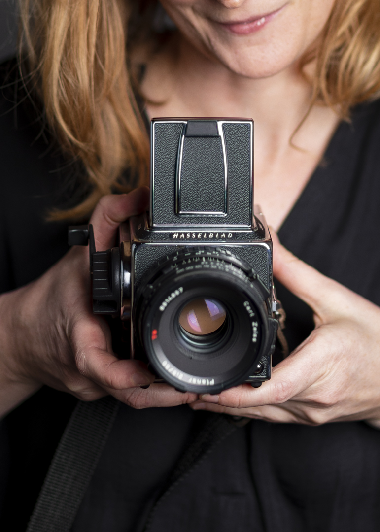 Kate Kelley with her Hasselblad