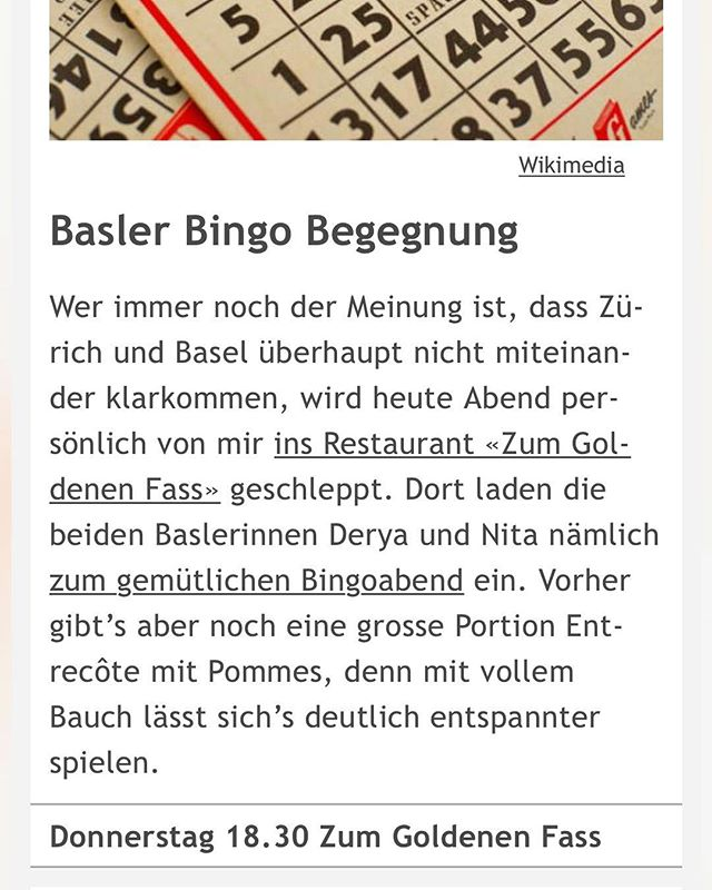 Danke @ron_orp_zurich für den Bingo-Tipp im Newsletter! Nita, unsere vermeintliche Baslerin aus dem Zürcher Oberland und Derya (Basler Stadtoriginal) hauen heute zahlenmässig auf den Putz! 🥰😍 Vor dem Spiel gibt es noch unser beliebtes Entrecôte mit Pommes für (you know it) numme 30 Stutz! S' Lääbe isch scheen! ❤️💙 Reserviere dir dein Essen und deine Bingo-Karte: info@zumgoldenenfass.ch # # # #ronorp #bingo #goldfass #entrecôte #kreis4 #spielen #ronorp #zürichgehtaus #zürich @ron_orp_zurich @visitzurich