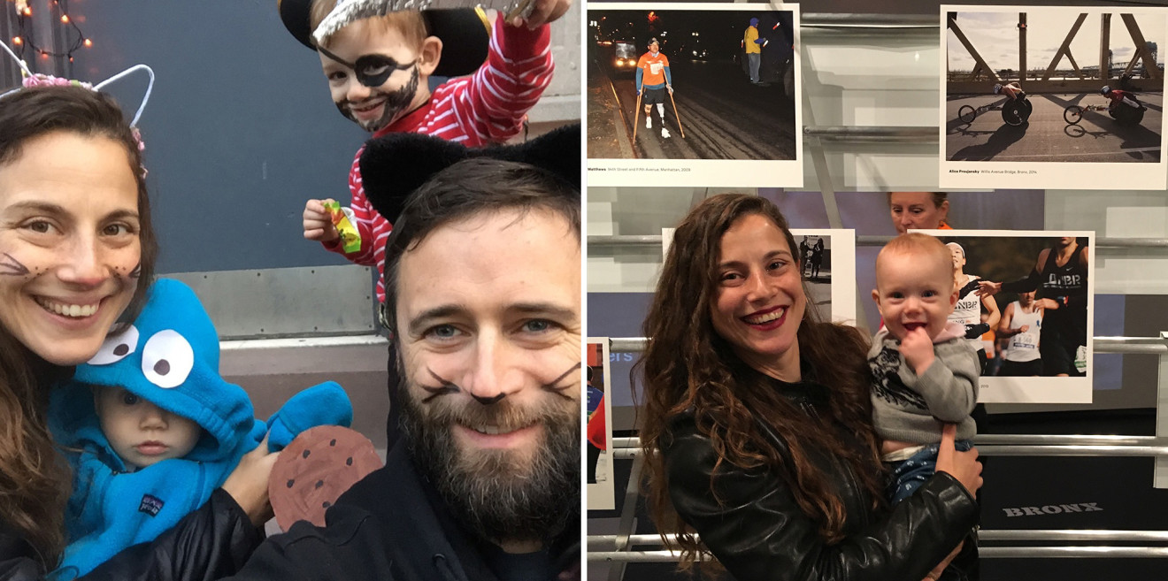 Left: Alice Proujansky and her husband, Nick Murray, pose with their children, nine-month-old January Murray and three-year-old William Murray on Halloween; Right: Alice Proujansky and her nine-month-old daughter, January Murray, stand in front of Proujansky's photograph of professional wheelchair racers in the 2014 TCS New York City Marathon at the Museum of the City of New York. (Photo credit: Nick Murray)