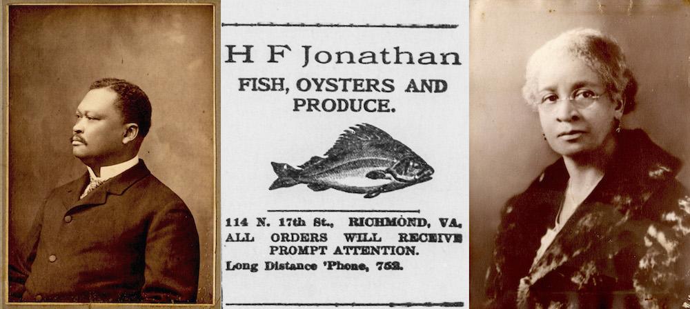 (L) Portrait of Hezekiah F. Jonathan. (M) Advertisement in Richmond Planet Newspaper, 1910. (R) Portrait of Cora Jonathan. Images courtesy of Mary Moorhead.