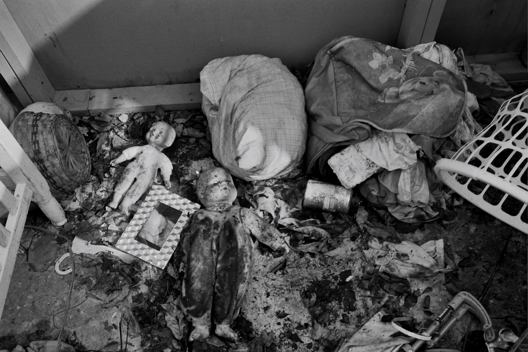 Damaged belongings of Evelyn Burgos's children at their home in Florida, P.R.