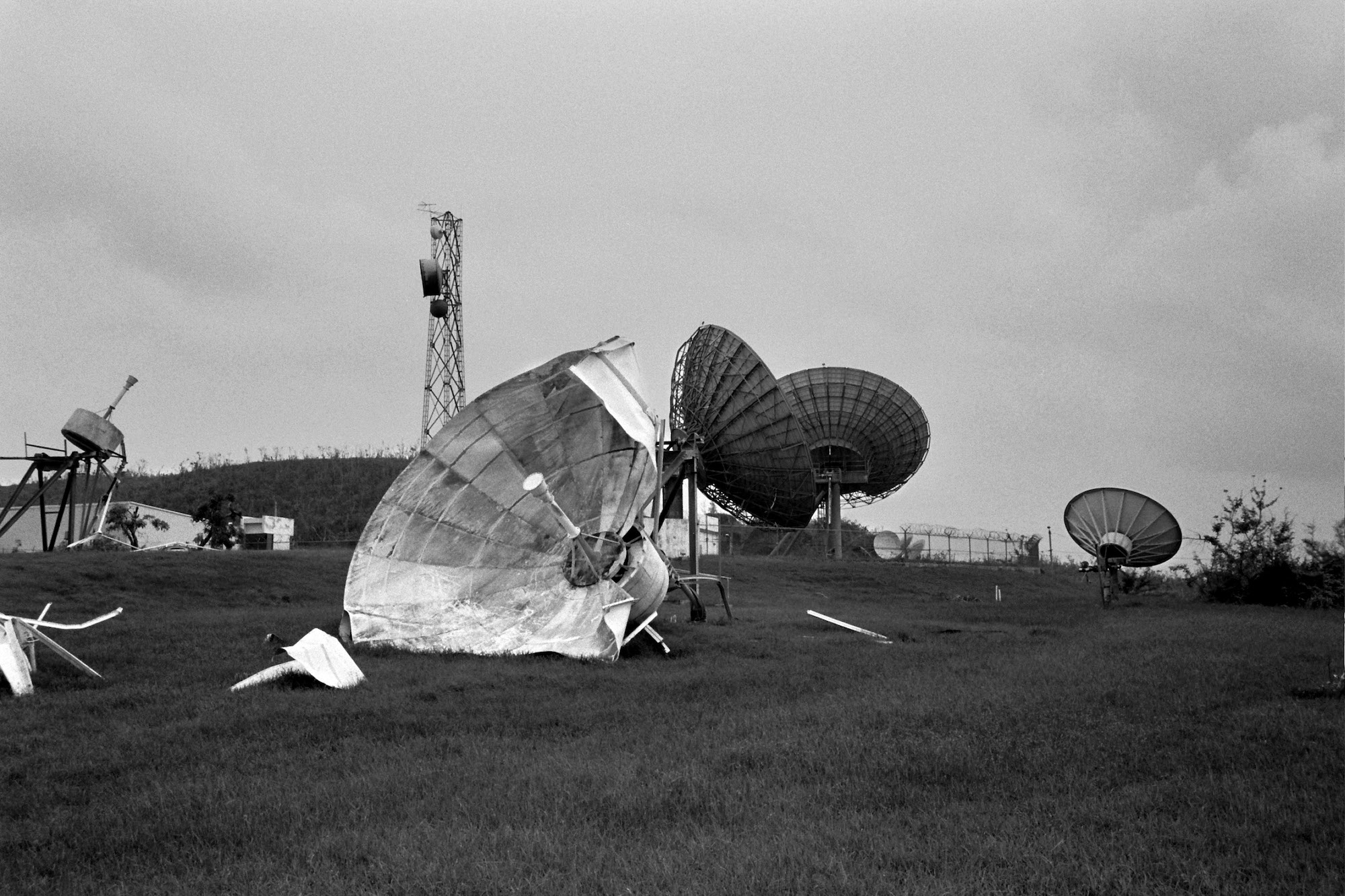 Satellite dishes in Humacao were destroyed by Hurricane Maria, which knocked out power and communications across the island.