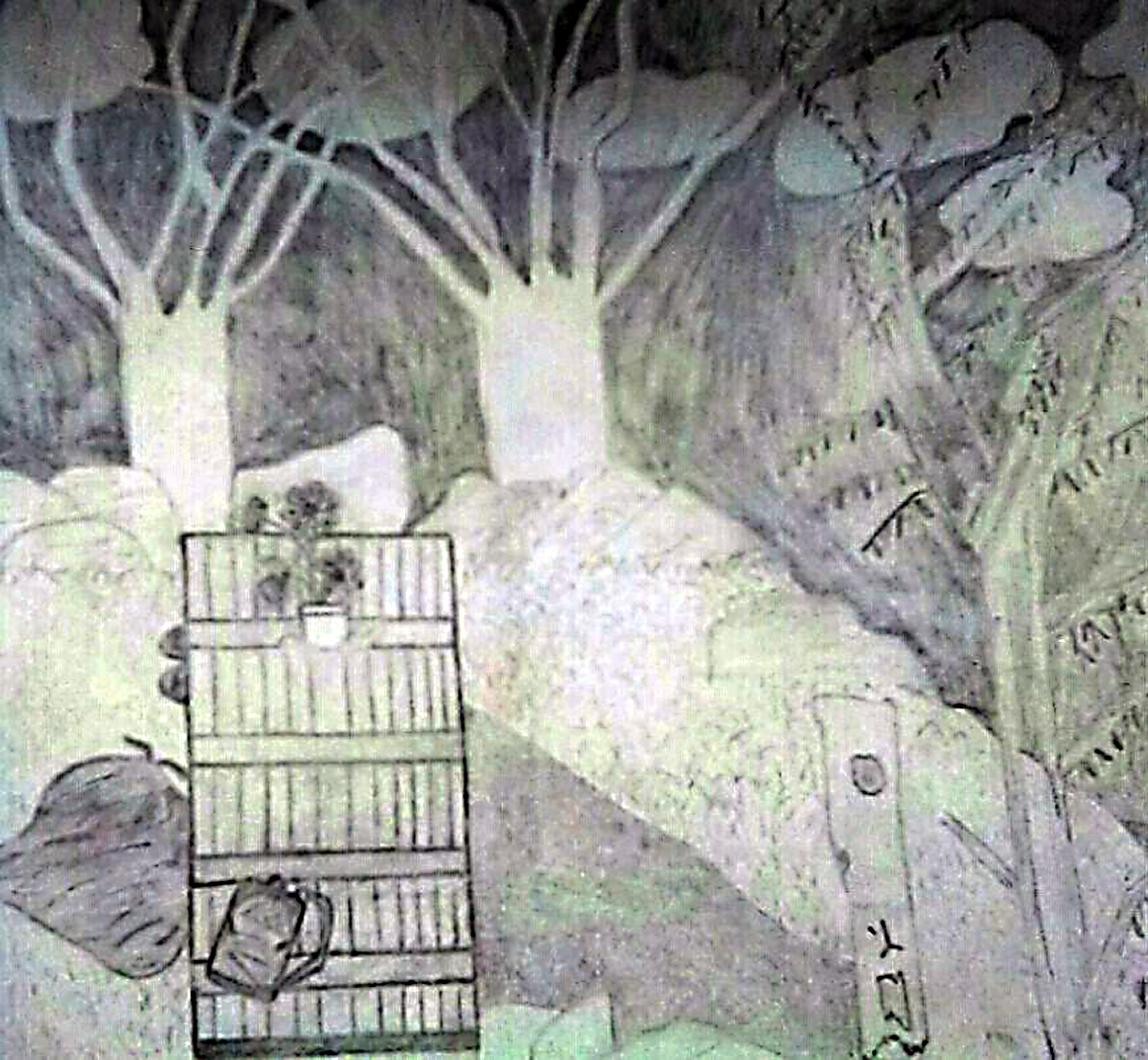 This illustration, by Lori Yearwood, is of the park bench where she spent many nights during her homelessness. (Lori Teresa Yearwood)