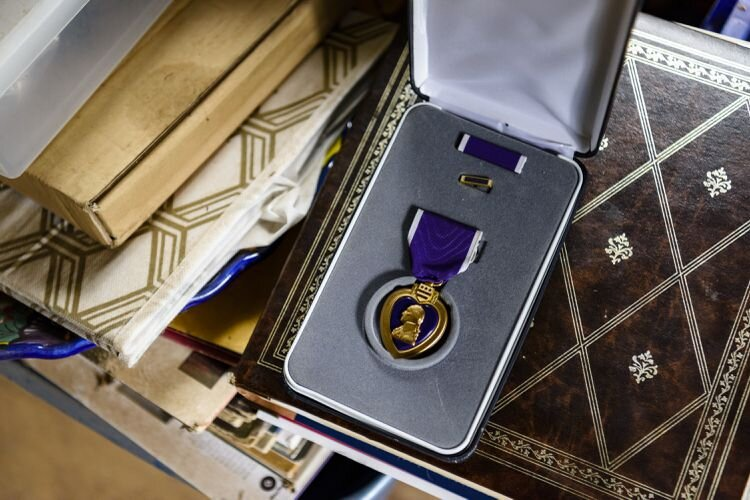 The Purple Heart he received after he was wounded. (Leah Nash)