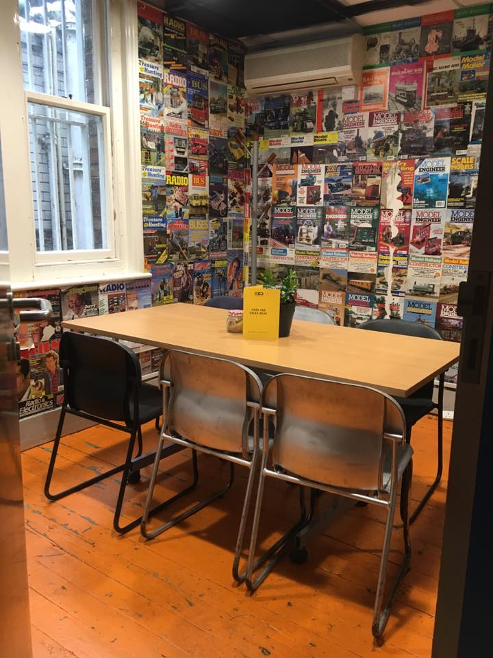 The bookable meeting room in Presuming Ed. This place is a coffee chugging freelancer's dream!