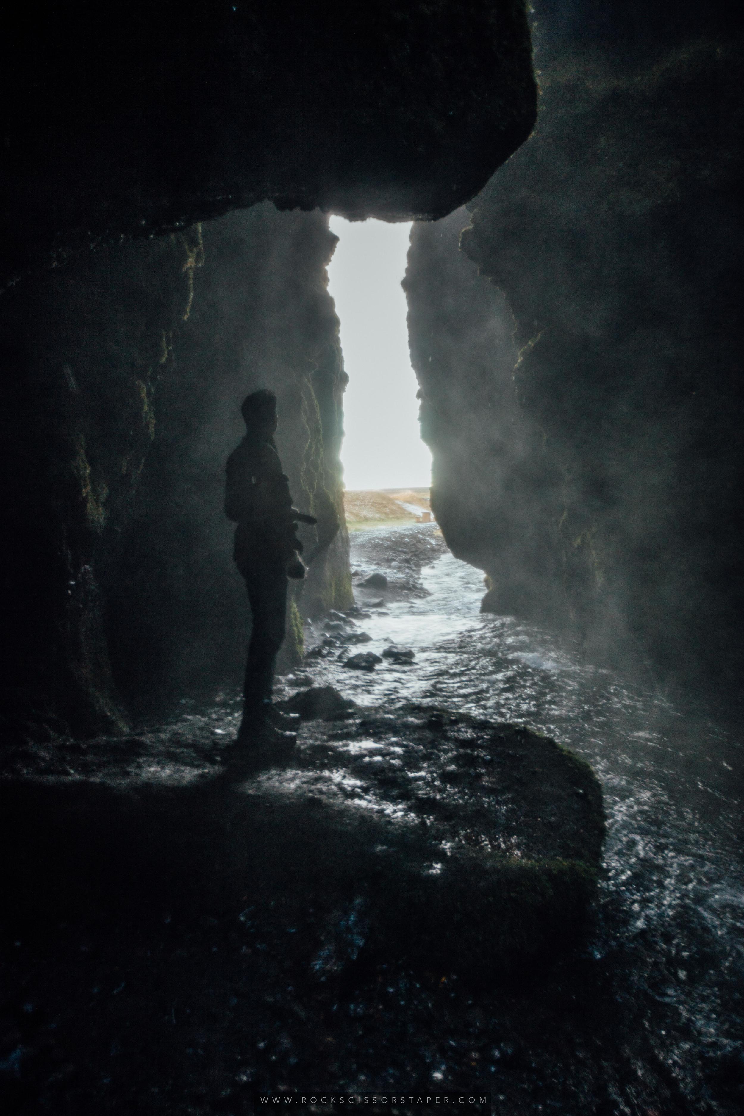 Inside Gljufarfoss