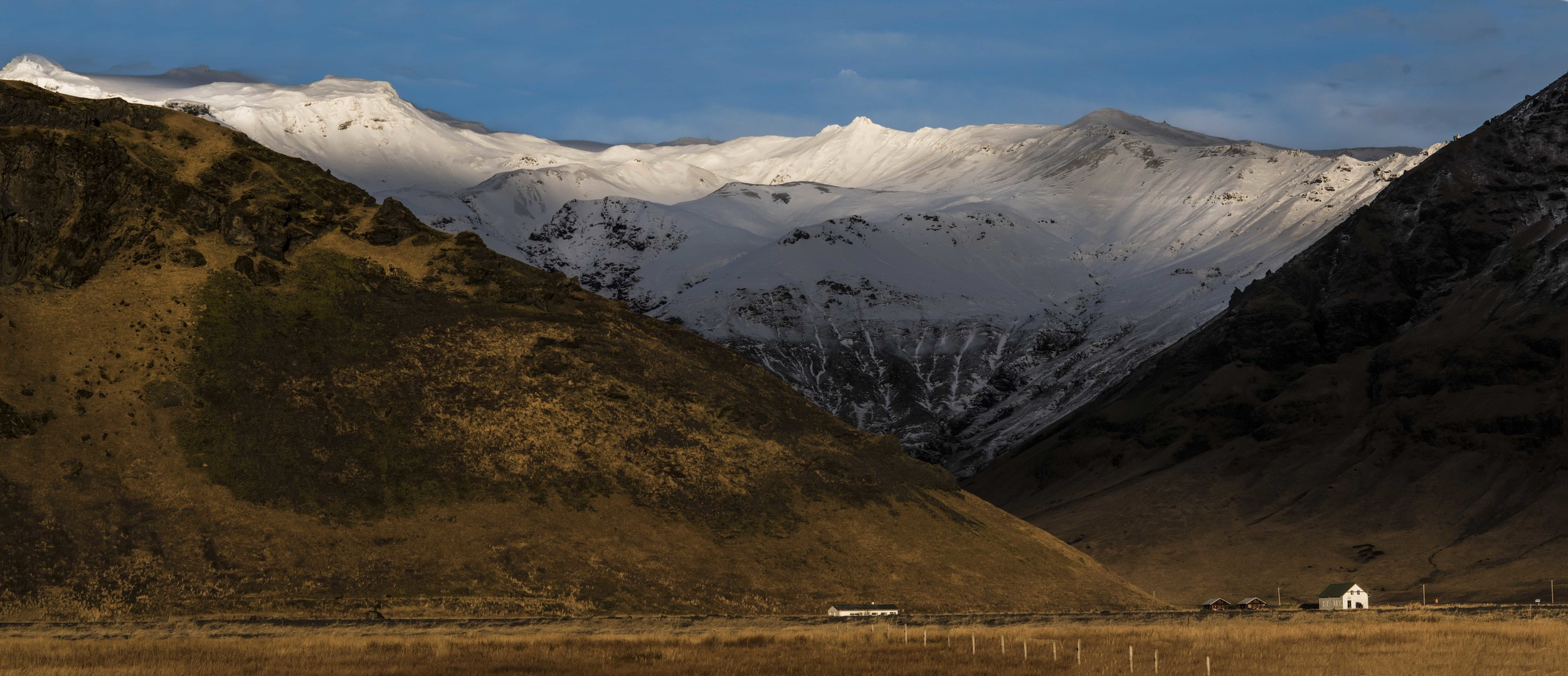 Icelandic Landscape, Mountains and Farmhouses