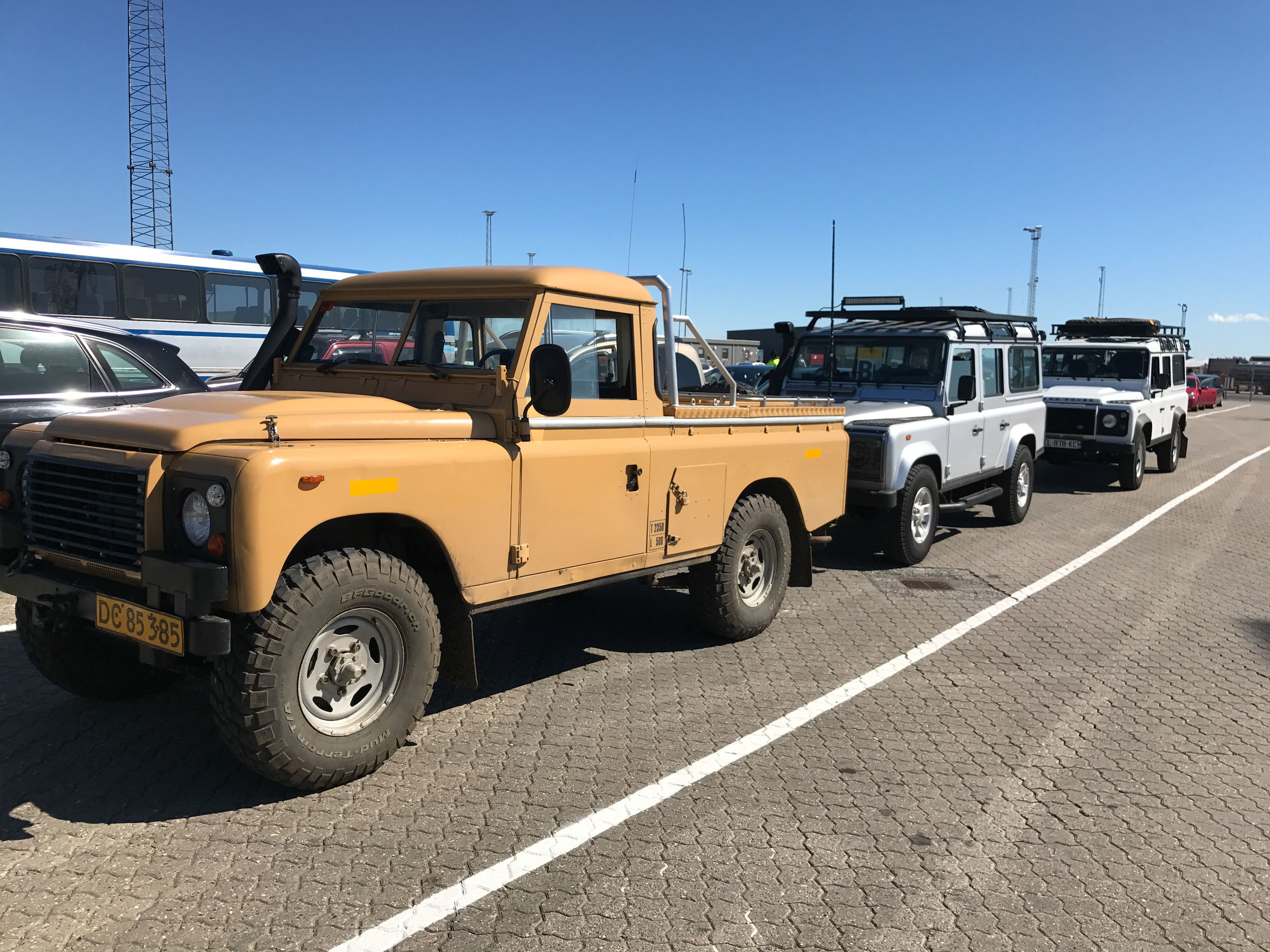 Three Landys deep lining up for the ferry