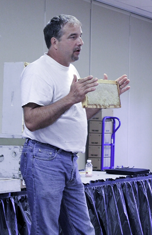 Our July meeting featured a honey extraction demonstration.