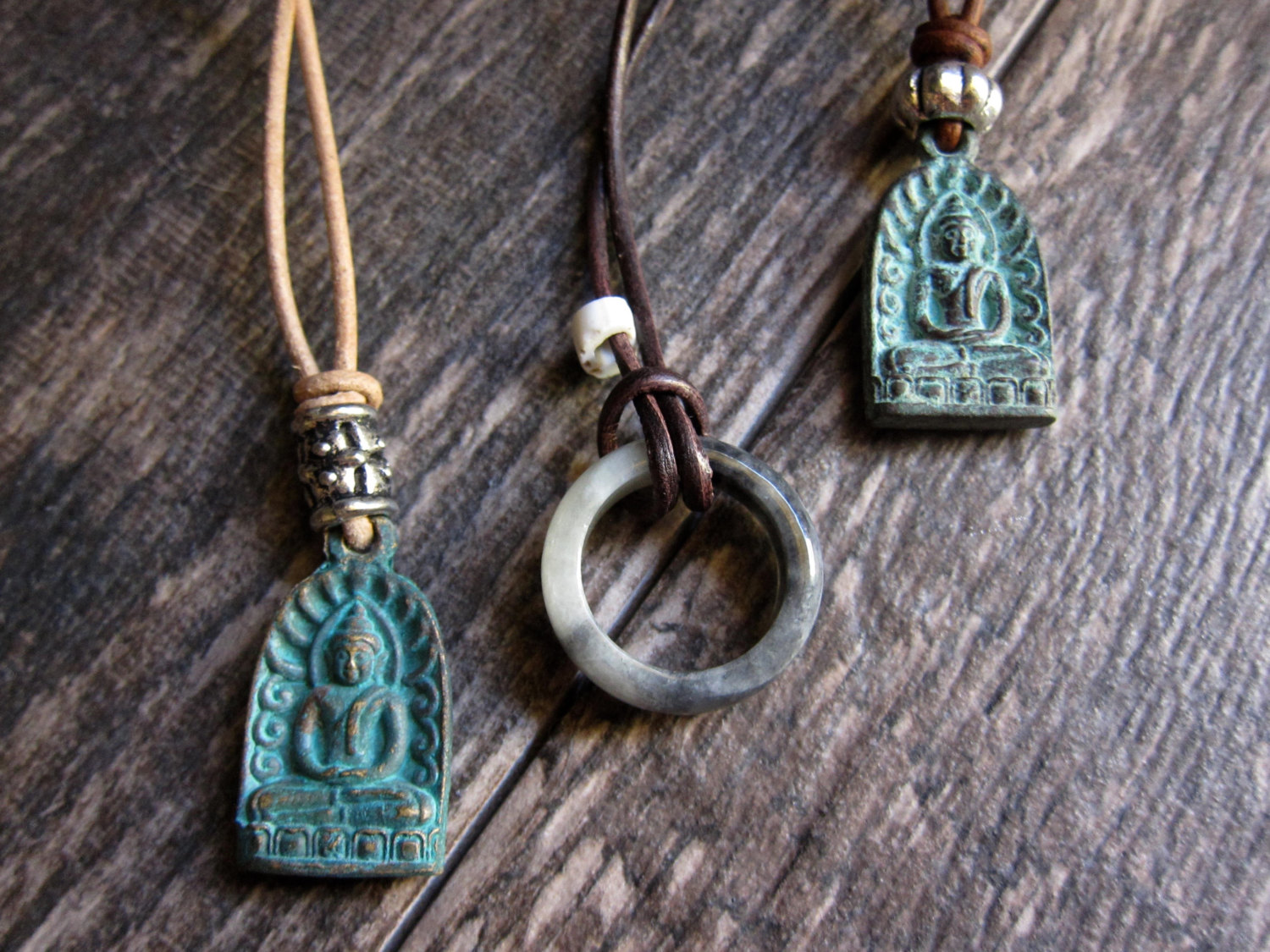 Men S Necklace Mens Leather Necklace Buddha Necklace Leather