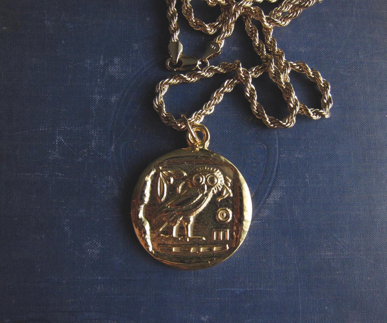 Gold Coin Necklace,Owl Necklace Gold,Coin necklace Gold,Greek Coin  Necklace,Goddess Necklace,Ancient Coin Necklace,Owl Pendant,Bird Necklace —  One