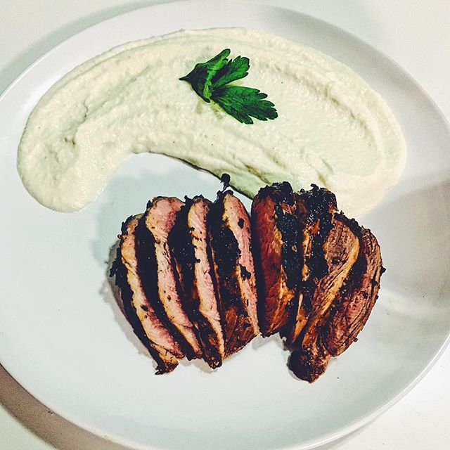 Unwinding with pork tenderloin and cauliflower mash... Lean protein and veggies will fill you up and won't weigh you down since summer is around the corner!