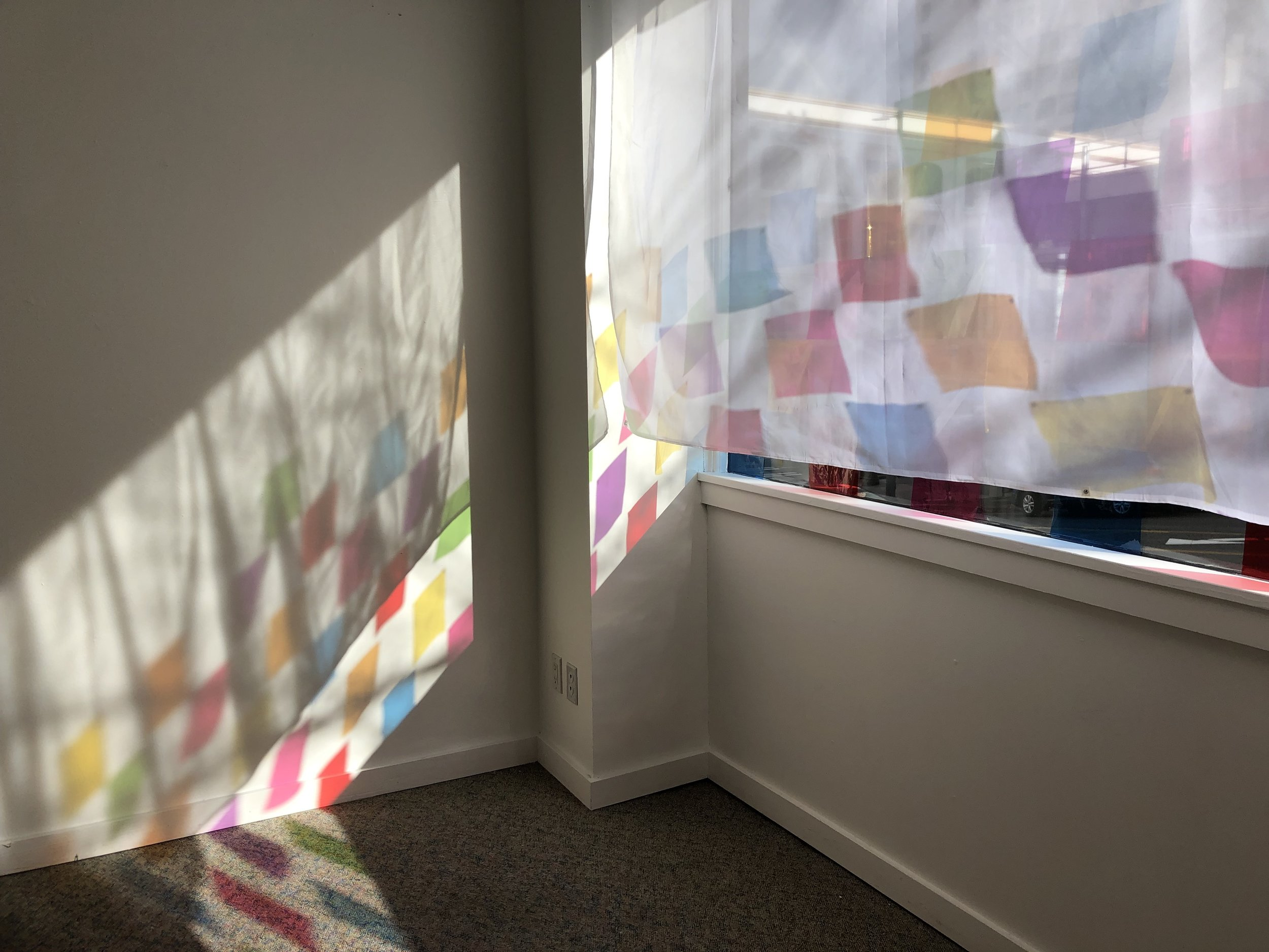 Full Spectrum Grid Space Part I, Cellophane, fabric, sunlight, 2019