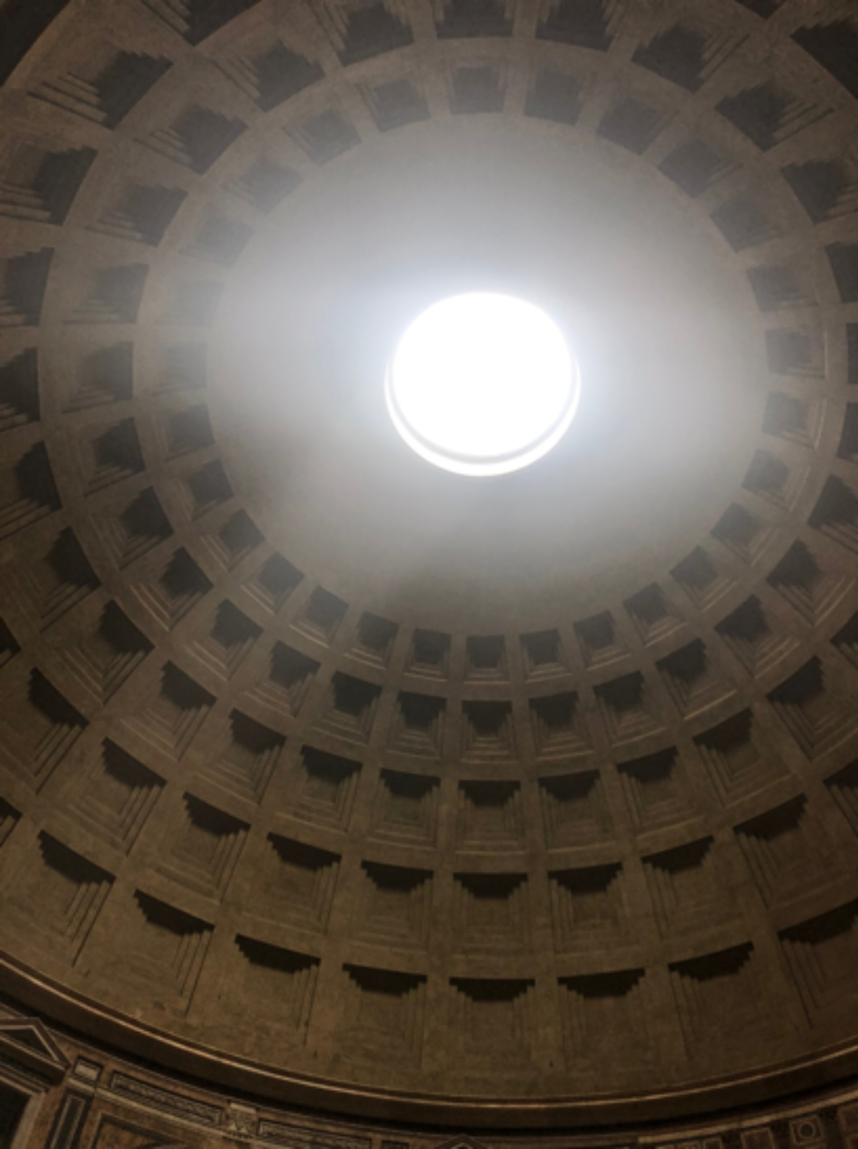 Hadrian's Pantheon is a temple to all gods. Its ecumenical nature is as encompassing as the celestial space the magnificent and mammoth dome implies. This is the broadest dome in Rome and is a feat of Roman engineering, made of concrete (a Roman invention).