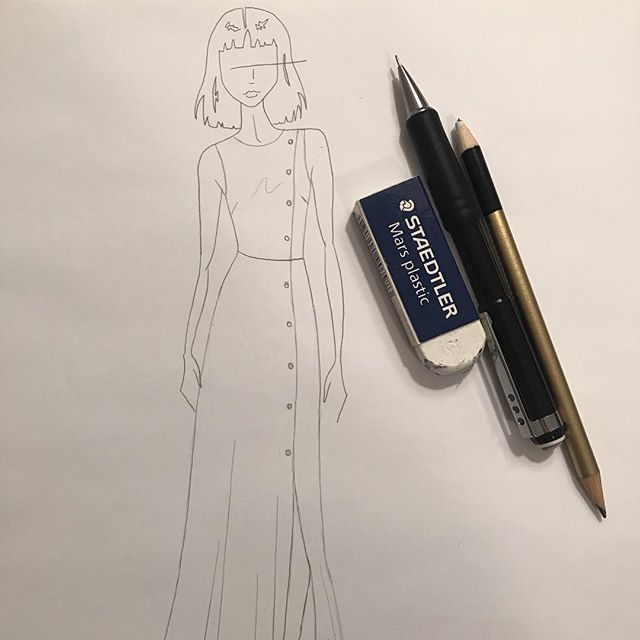 Sketched my croqui, finalized hair style and color, and now I'm diving into illustrating this collection! More to come 💫. • • • • • #inspiration #fashionillustration #fashiondesign #womenwhomake #artanddesign #design #sewing #makersofinstagram #illustration #femaledesigners #sarahkoval #new #sketch #micron #prisma #newbeginnings