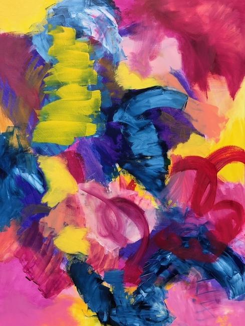 "ABUNDANCE, Chloé Meyer original art, 30""x40"", abstract oil painting on canvas"