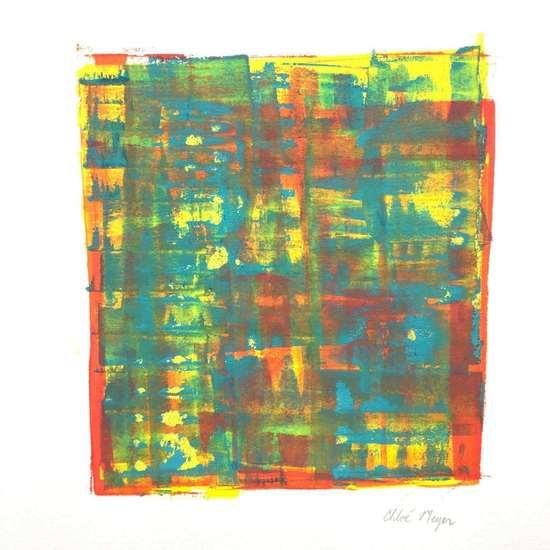 "TRAIN 3, Chloé Meyer original art, 10"" x 11"", ink on paper"