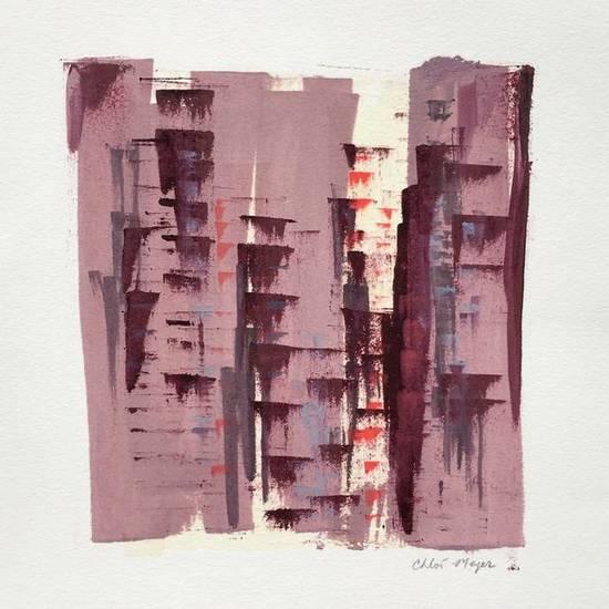 """LIGHTS 2, Chloé Meyer original artwork, 10"""" x 11.25"""", ink on paper"""