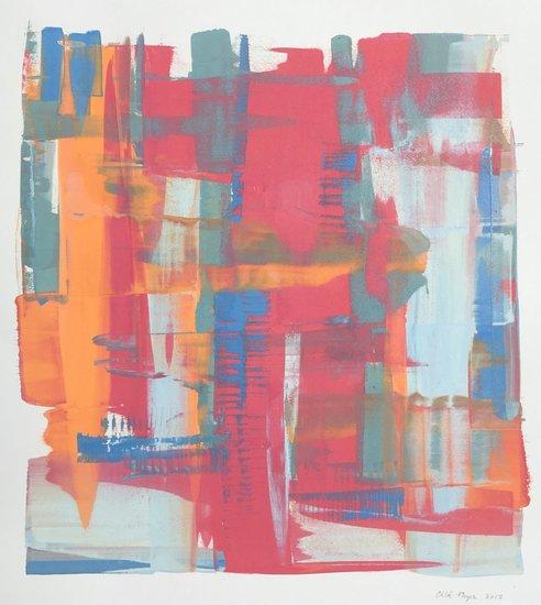 """PINK POPS 2, Chloé Meyer original art, 20"""" x 22"""", ink on paper"""