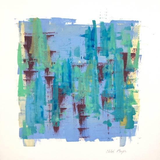 "PLEASED 5, Chloé Meyer original art, 10"" x 11"", ink on paper"