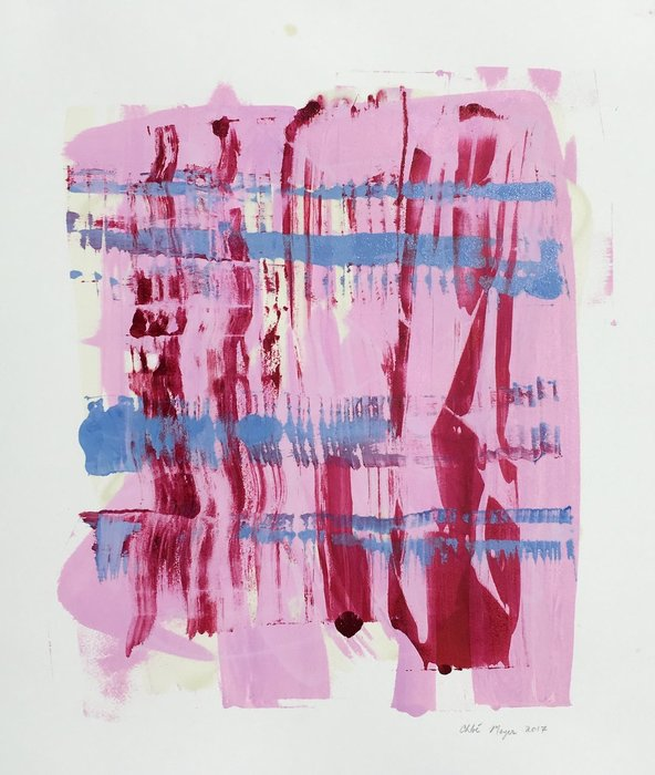 "Pink Pops 3, Chloé Meyer original artwork, 20"" x 22"", ink on paper"