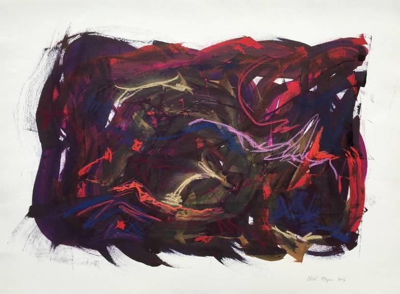 """PARTNER 1, Chloé Meyer original artwork, 22"""" x 30"""", ink and pastel on paper"""