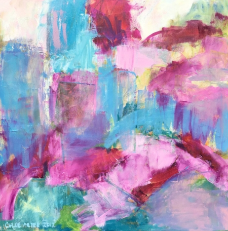 "Sold - MAGNOLIA GARDEN, Chloé Meyer original art, 24"" X 24"", abstract oil painting on canvas"