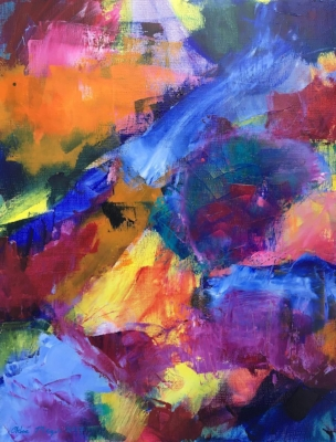"Sold - FOR MICHELLE 2, Chloé Meyer original art, 11"" x 14"", abstract oil painting on linen"